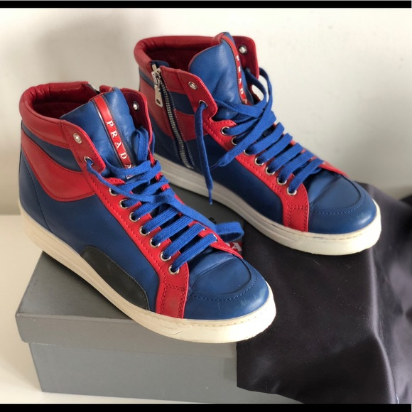 2432d275665e ... usa prada mens blue red leather high top sneakers 65d6c 80f71